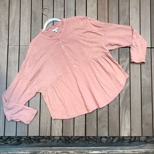 LUCKY BRAND Coral Round Neck Button Down Blouse